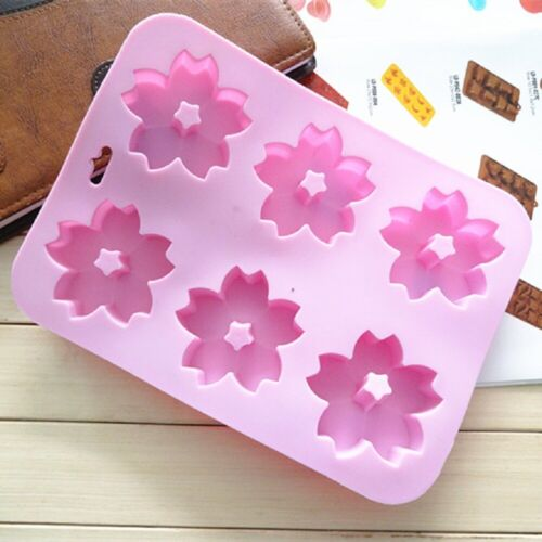 Six Cherry Blossom Silicone Cake Mold Flowers Handmade Soap Molds Jelly Mould