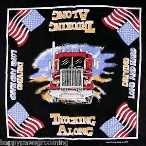 Lot-de-3-Camionneur-18-Wheeler-034-Poids-Lourds-le-Long-034-US-USA-Drapeau-Bandana