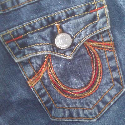100% Cotton Thick Stitch Flare Leg Blue Denim Jeans by TRUE RELIGION Size 28