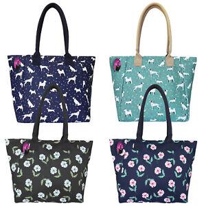Large-Big-Handbag-Shopper-Style-Shoulder-Bag-Ladies-Printed-Patterned-Zipped
