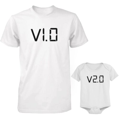 V.1.0 /& V.2.0 Dad and Baby Matching White T-Shirt and Bodysuit Set