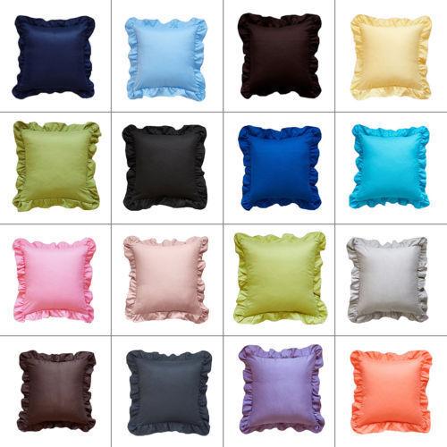 Side Edge Ruffle 1 Pair Pillowcase 100% Egyptian Cotton 800 TC All color & Size