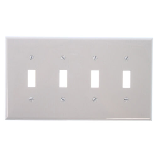 WHITE 10 PACK COOPER PJ4W POLYCARBONATE 4-GANG TOGGLE SWITCH WALLPLATE