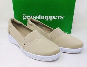 a471da72c Grasshoppers Women s Jade Twill Comfort Slip-On Shoe Size 5W Stone ...