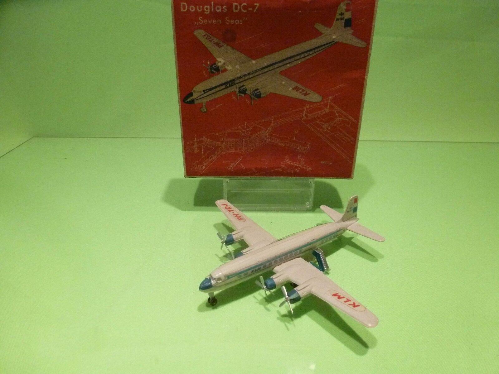 SIKU PLASTIC F9b FLUGZEUG - DOUGLAS DC-7 DC7  KLM - 1 250 - GOOD IN BOX - PLASTIK  gros pas cher et de haute qualité