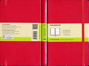Moleskine-Cuaderno-Liso-Rojo-Nueva-Tapa-Dura-240-paginas-libres-de-acido-13-X-21-Cm