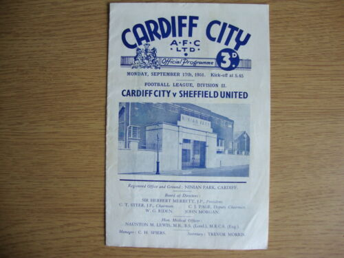 19512 Cardiff City v Sheffield United League Division 2 GOOD CONDITION