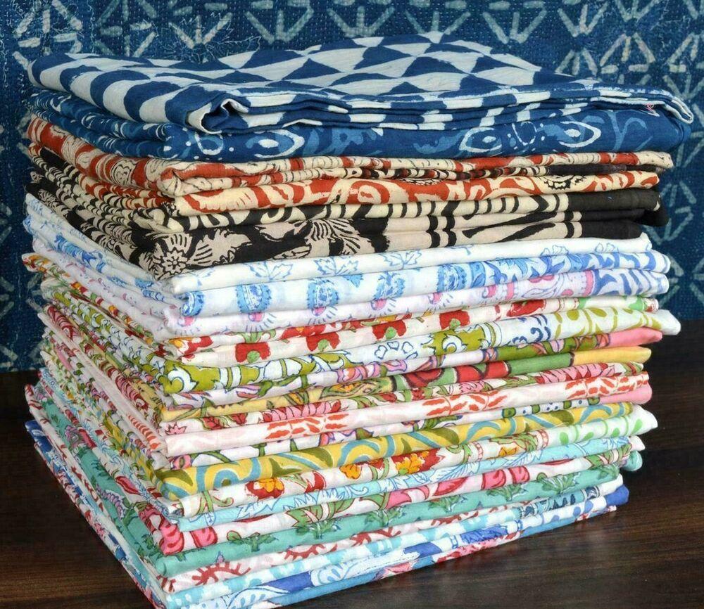10 Coton Main Bloc Imprimé Écharpes Sarongs Paréo Hijab Châle Plage Usure Indien