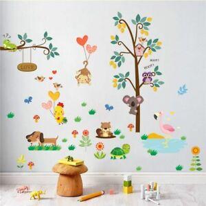 Jungle-Wild-Animals-Owl-Monkey-Turtle-Tree-Wall-Sticker-Kids-Bedroom-Room-Decor