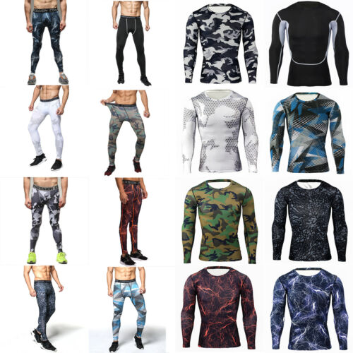 Men Camo Compression Tracksuit Base Layer Top Shirt Leggings Pants Cycling Sport