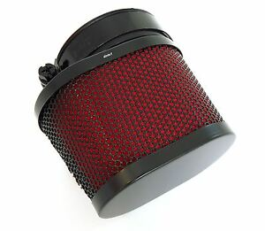 Black & Red Oval Air Filter - 50mm - Honda CB350 CB360 CB450 CB500T