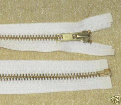 "12 16/"" #5 Brass Zippers ~ Separating ~ White ~ YKK"