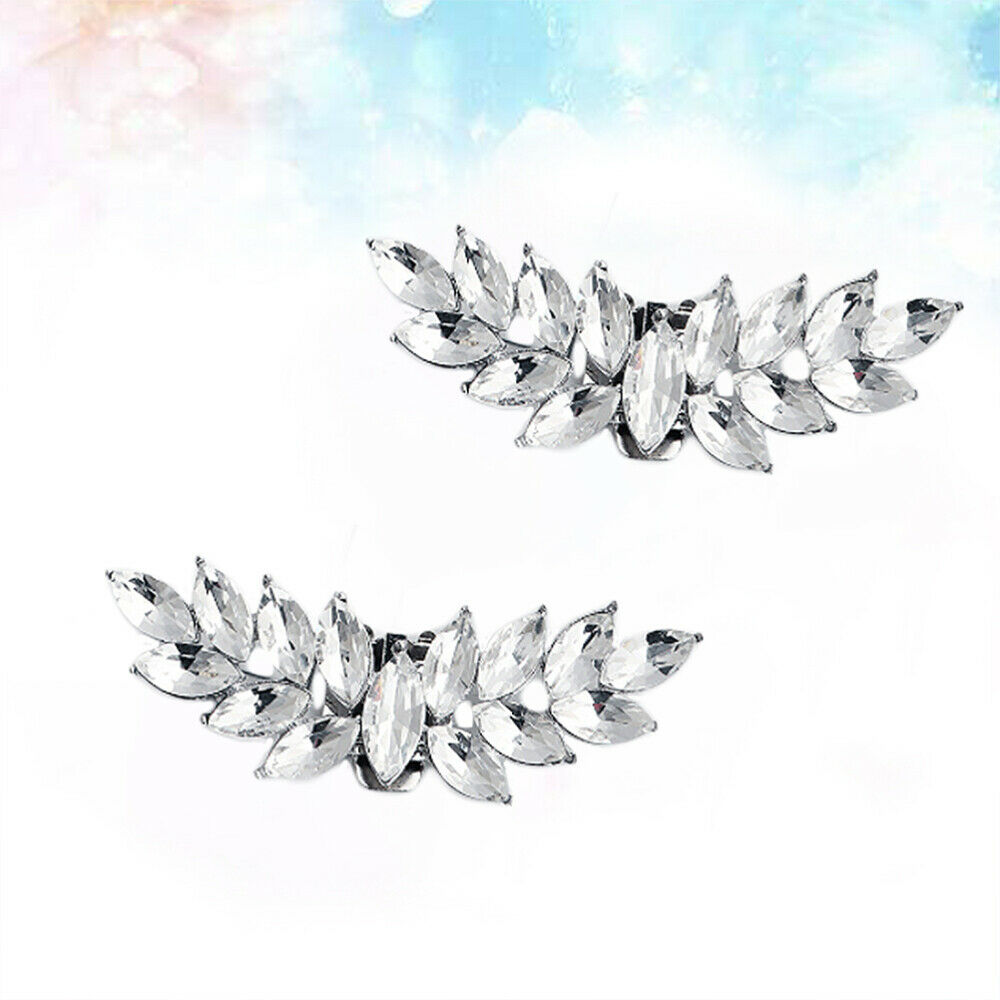 1 Pair of Crystals Shoe Buckles Alloy Bridal Rhinestone Shoe Clip for Party