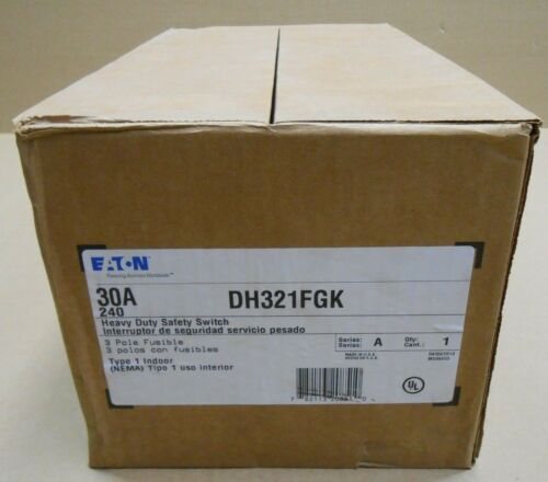 NIB EATON DH321FGK SAFETY SWITCH 30A 3P NEMA 1 FUSIBLE 30 AMP 240V 13 AVAILABLE