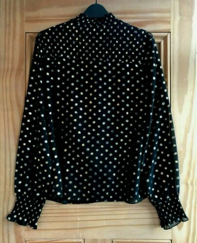 WAREHOUSE BRAND NEW Black Gold Spot Shimmer Top Blouse Size 6 8 RRP=£39