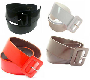 "WN154 - PATENT LEATHER 2"" WIDE CINCH BELT FOR LADIES, 4 COLORS & 8 SIZES ON SALE"