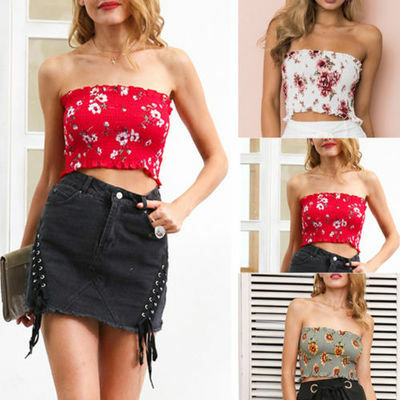 Summer Women Floral Strapless Bandeau Crop Top Bra Boob Tube Ladies Vest Tops BW
