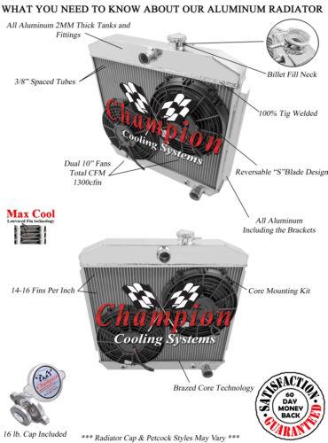 1955 56 57 Chevy Cars w// V8 Mount 2 Row Champion Alum Radiator Fan Combo