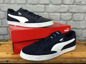 PUMA-MENS-MATCH-VULC-2-NAVY-BLUE-WHITE-SUEDE-TRAINERS-RE-DYE-VARIOUS-SIZES