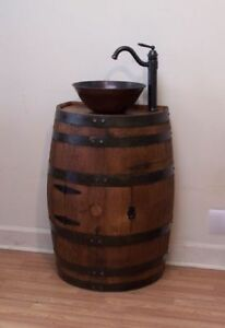 Whiskey Barrel Vanity Sink 18 Depth For Small Bathroom Round Vessel