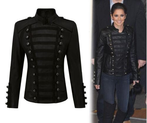 Women/'s Napoleon Military Leather Jacket Cheryl Cole Slim Fir Unique Fashion Jac