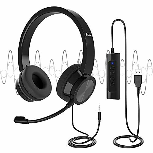 Venker USB Headsets with Microphone, 3m Length Noise Cancelling Headset Stereo