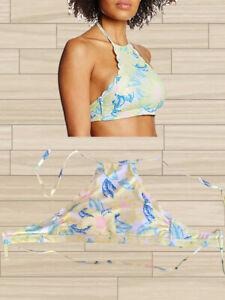 New-Look-Dos-Nu-Rembourre-Jaune-Floral-Swim-Bikini-Top-Taille-10-Bnwt