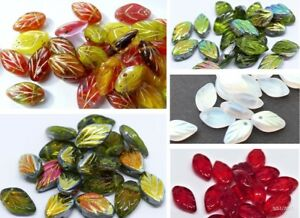 11-mm-CZECH-GLASS-LEAF-DROP-BEADS-FOR-JEWELLERY-MAKING-30-PCS