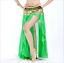 One-Side Slit with Gold Trims Long Skirt Chiffon Hip Skirt Belly Dance Costumes