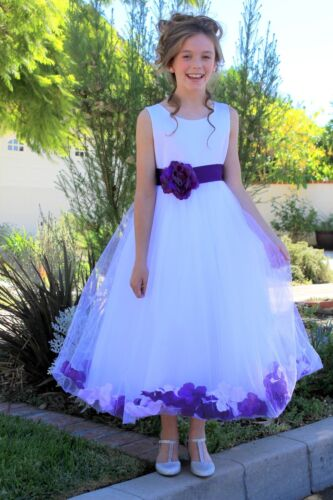 Satin Floral Rose Petals White Tulle Flower Girl Dress Wedding Pageant Birthday