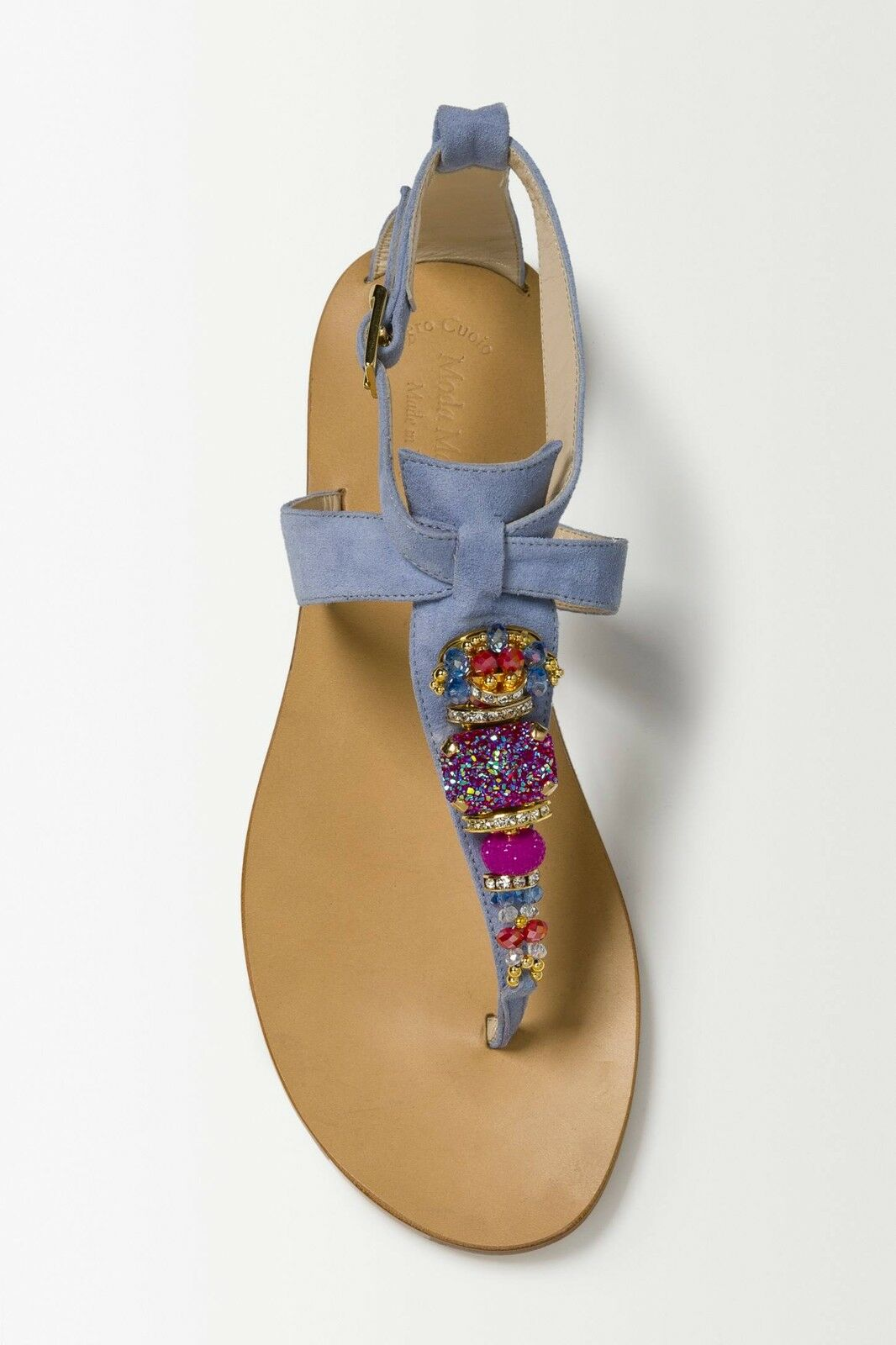 Z ANTHROPOLOGIE MODA MARINA purpleTA purpleC SUEDE BEADED JEWEL SANDALS 7 9 40