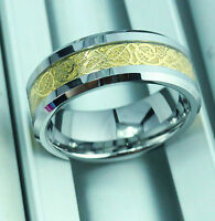 Mens Steel Tungsten Carbide Gold Dragon Wedding Ring Band Engagement Size R