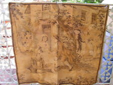 "Antique France Large Tapestry 1700's Courting Couple Scene 39"" x 38"" Gold Brown"