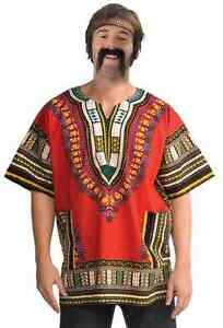 Dashiki-Shirt-60-039-s-Hippie-Fancy-Dress-Halloween-Adult-Costume-Accessory-2-COLORS