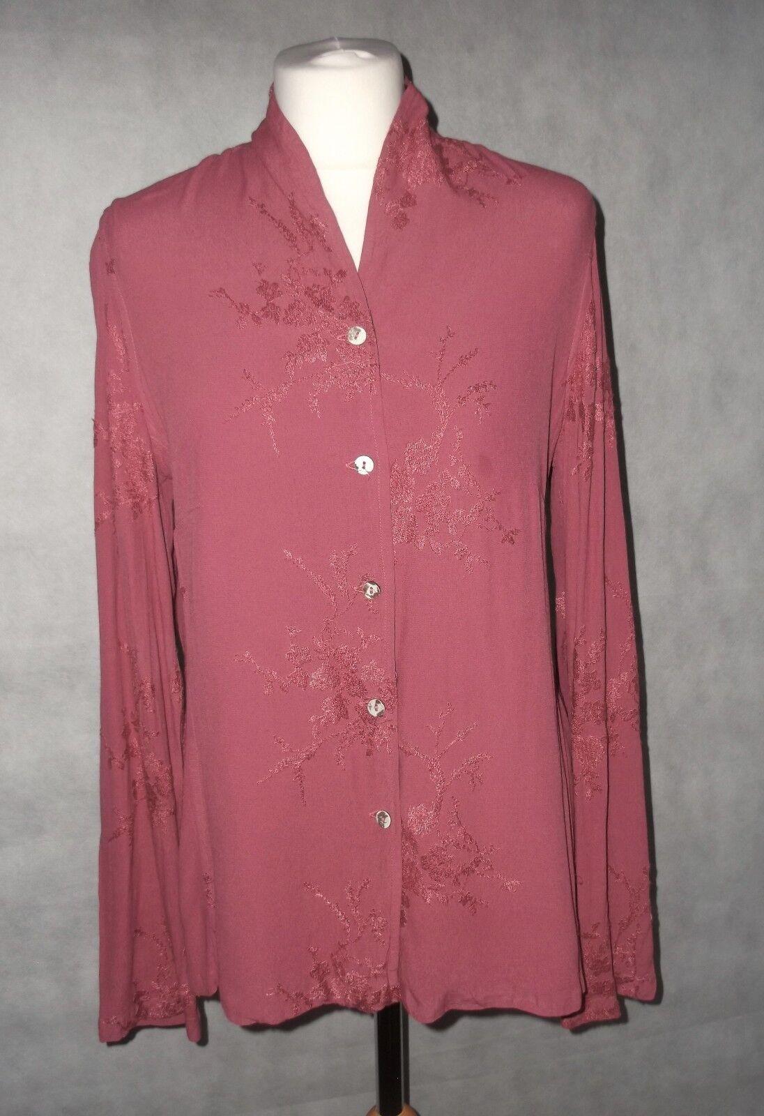 Stunning Sarne Era GHOST vintage embroiderot Rosa shirt top s