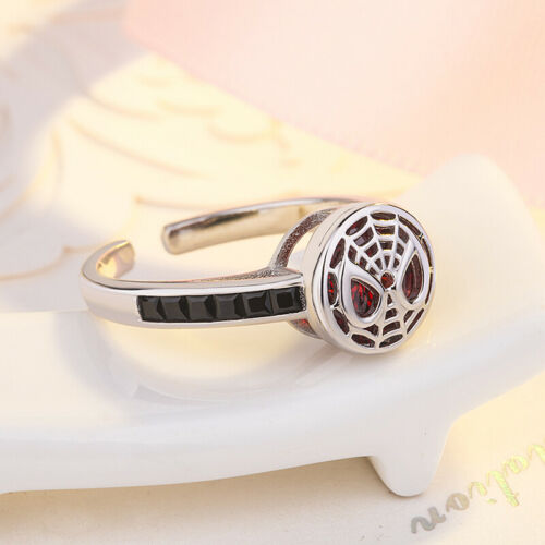 Creative 925 Silver Spider Man Logo Rings For Couple Lovers Ring Gift Adjustable