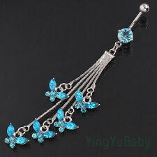 Body piercing jewelry Dangle Blue Butterfly Belly ring Navel bar Nickel-free 14G