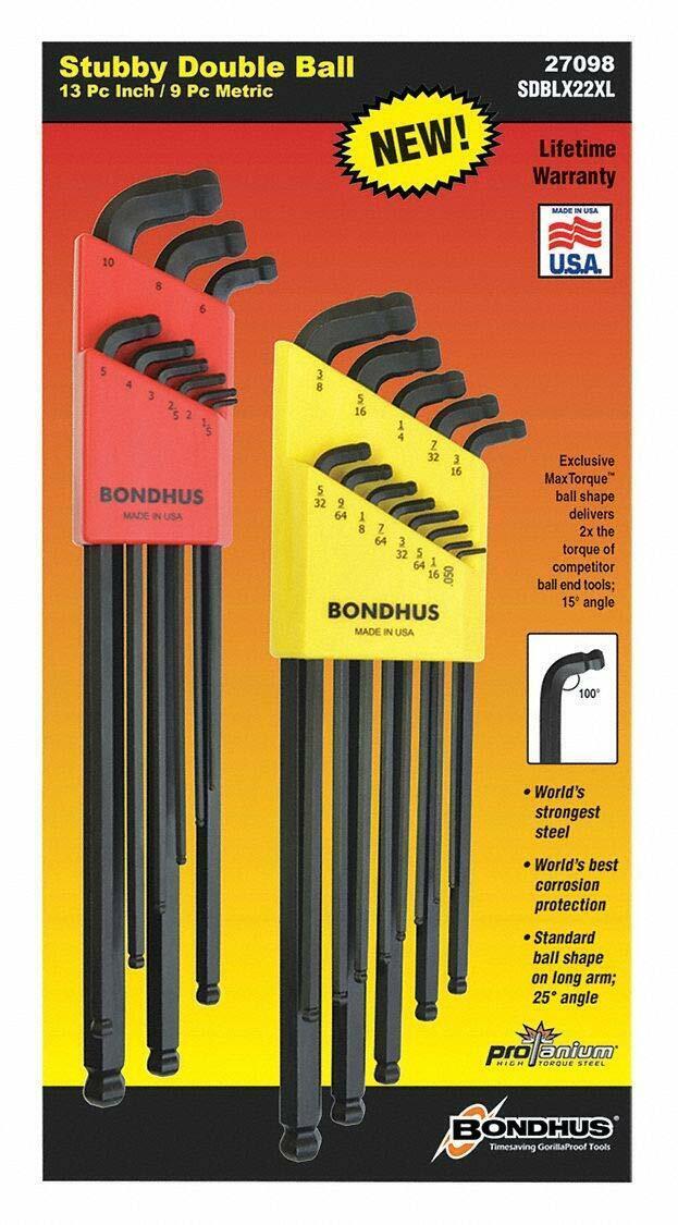 Bondhus 27098 22 Piece L-Wrench Stubby Double Ball End Combination Set