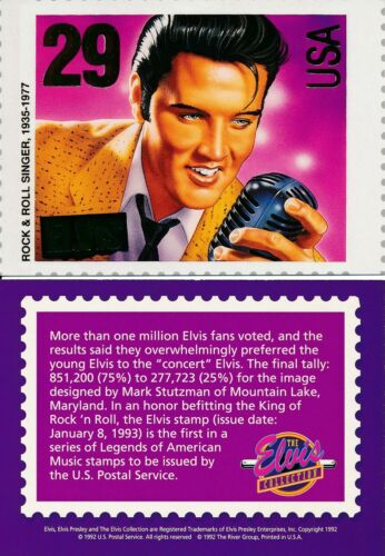 LOT OF 2 1992 THE ELVIS COLLECTION 29 CENT GOLD FOIL STAMP CARD RIVER GROUP