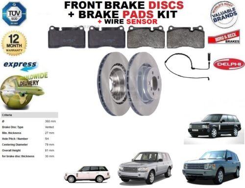 Pour Range Rover MKIII L322 Disques De Frein Avant Set Fil Capteur Disc Pads Kit