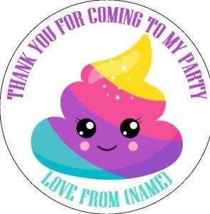 Unicorn Poo Poop Emoji Personalised Stickers Birthday Party Gift