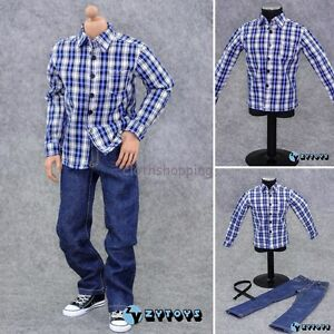 1-6-clothes-blue-Plaid-long-sleeve-shirt-Jeans-ZY-Toys-Set-For-12-034-Action-Figure