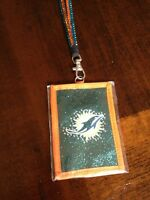 Dolphins Nfl Lanyard Sparkle I.d. Wallet With Tags