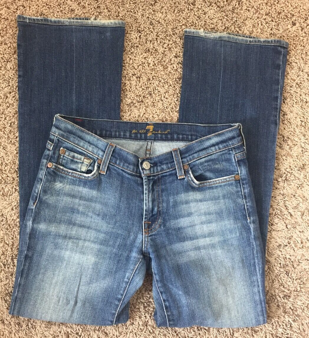 7 For All Mankind Women's Jeans Size 28 x 30 Bootcut Cotton Denim Made in USA