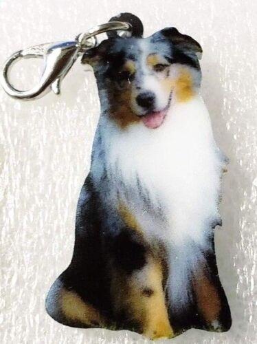 Australian Shepherd Dog Acrylic Double-Sided Purse Charm Zipper Pull Jewelry