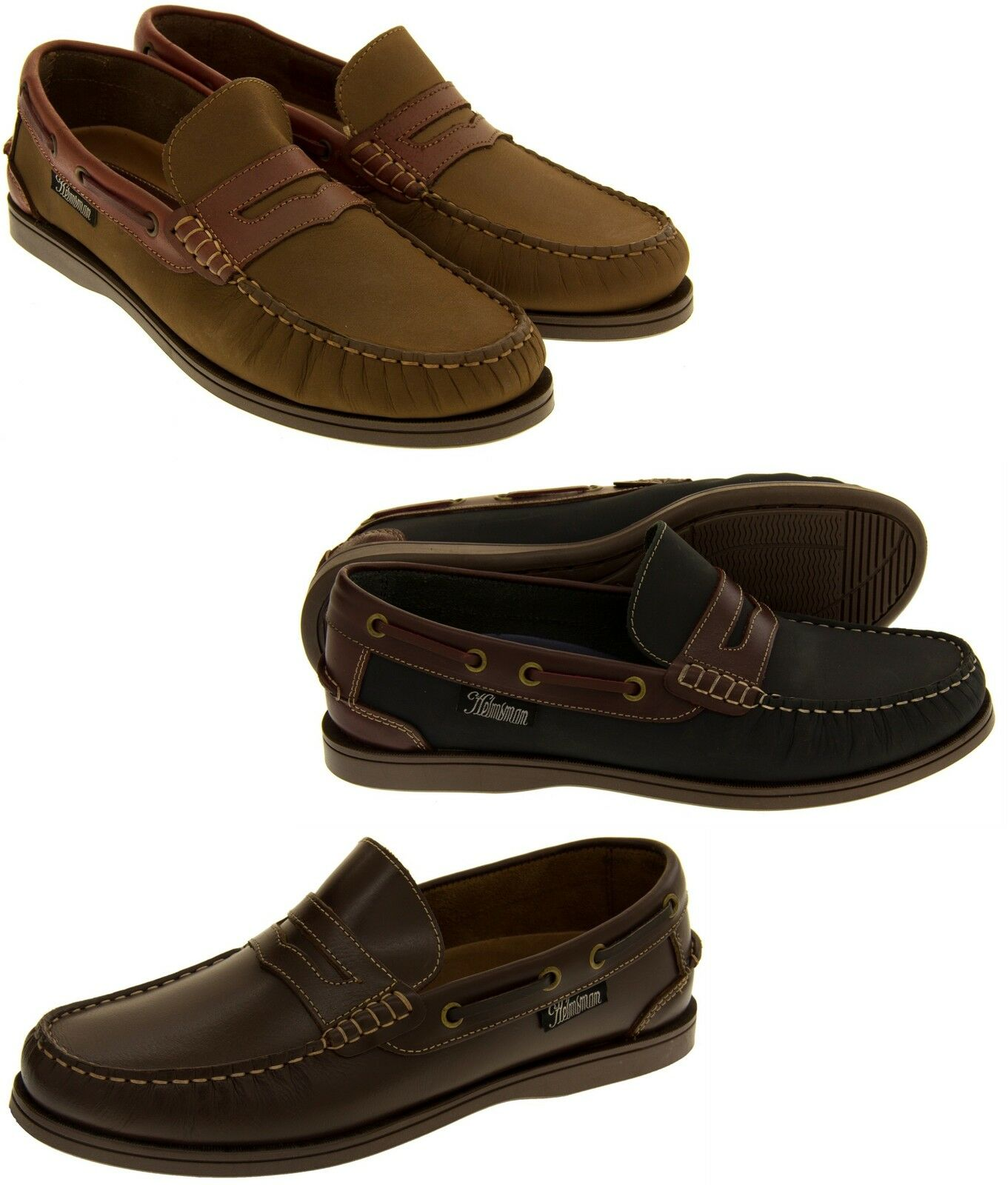 Mens Helmsman Leather Casual zapatos Deck zapatos Moccasin Loafer Talla 7 8 9 10 11 12