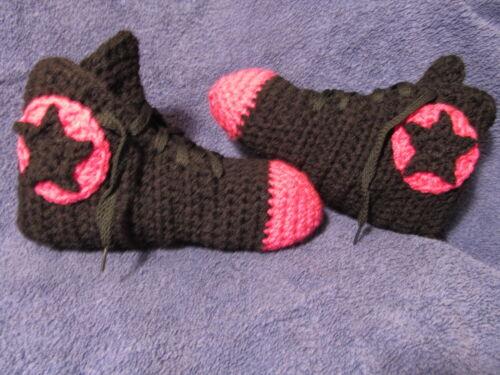 Handmade Crochet High Top Shoe Slippers//Socks in Teen or Women Black//Hot Pink