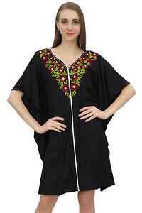 0c12d8d402 Bimba Women's Aari Work Black Swimsuit Cover Up Beach Dress Short ...