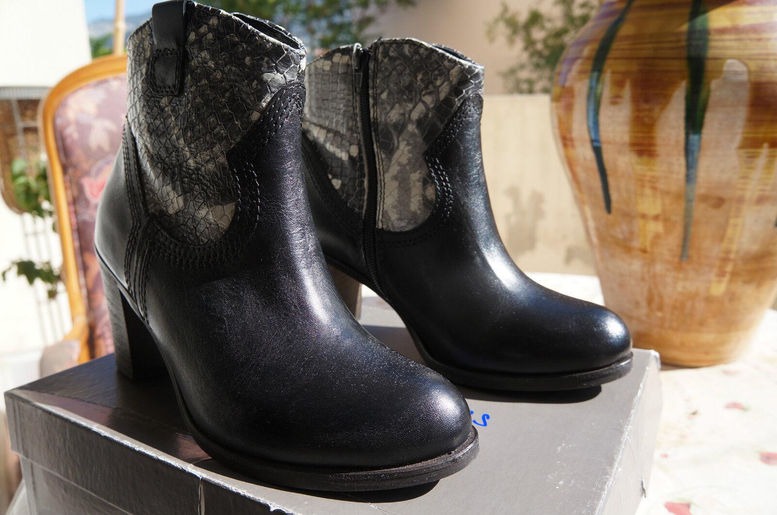 Tosca azul zapatos london, mujer kurzschaft COWBOYbotas, negro, 39 e -
