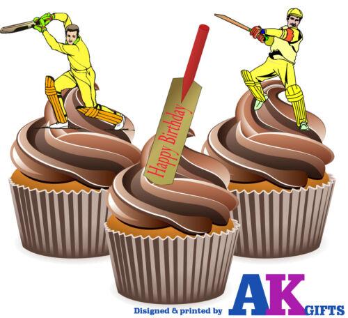 Precut Batte Cricket Joyeux Anniversaire 12 Comestibles CupCake Toppers Gâteau Décoration